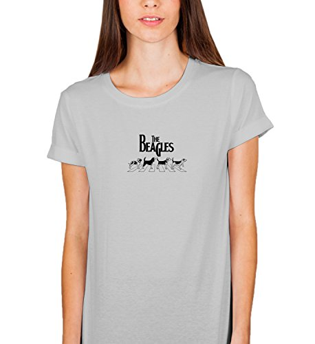 The Beagles Dogs Cute Funny Quote Rock and Roll Vintage Seventies Music Concert Crazy Party Damen Shirt Tshirt T-Shirt MD Women Grey T-Shirt