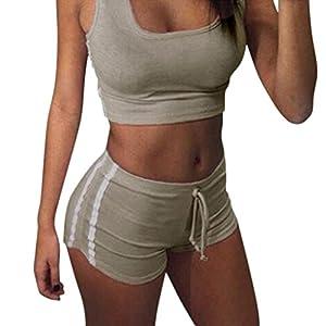 Sportanzug damen Kolylong® 1 Satz Frauen locker Sportanzug Tops + kurze Hose Beiläufig Outfit Yoga Outdoor Jogging Sportkleidung Anzüge sommer Jogginganzug 2 pcs