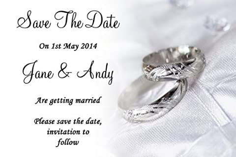 10 x Classy White And Silver Rings Personalised Wedding Save The Date Cards - 7953