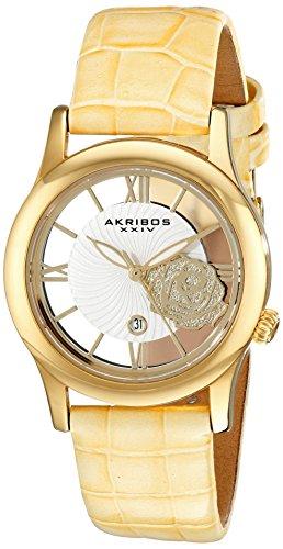 Akribos-XXIV-Damen-Lumin-Analog-Display-Japanisches-Quarz-Uhr-mit-Lederband