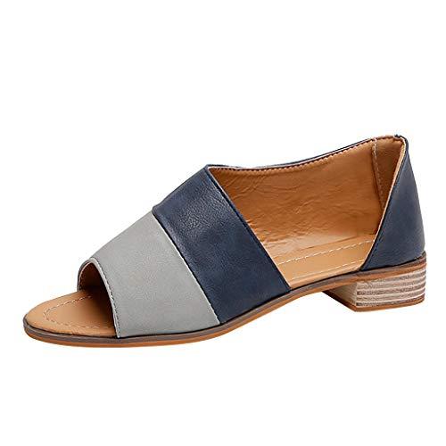 Ladies Roman Pesce Bocca Color Matching Basso Quadrato con Sandali di Grandi Dimensioni Beach Shoes Tacchi Alti Scarpe da Trekking Trampolieri Ballo Latino