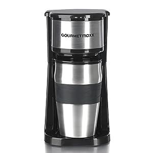 GOURMETmaxx 05061 One Cup Coffee Machine | Express Coffee Maker | Portable Coffee Cup For Barista Filter Coffee | 750 Watt | Black