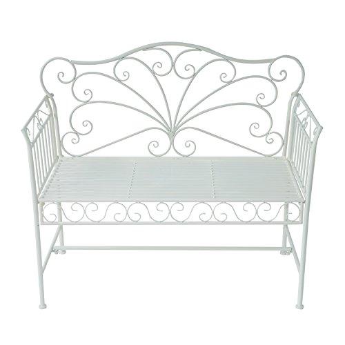 Outsunny Garden 2-Sitzer Metall Bench Park Platz Outdoor Möbel W/Dekorative Rückenlehne weiß - 5