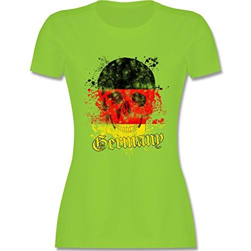 EM 2016 - Frankreich - Germany Schädel Vintage - tailliertes Premium T-Shirt mit Rundhalsausschnitt für Damen Hellgrün