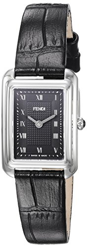 Fendi Women's Black Leather Band Steel Case Anti Reflective Sapphire Swiss Quartz Analog Watch F700021011