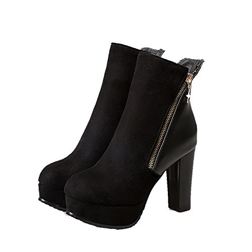 VogueZone009 Damen Gemischte Farbe Rund Zehe Reißverschluss Stiefel mit Metallisch, Schwarz, 37
