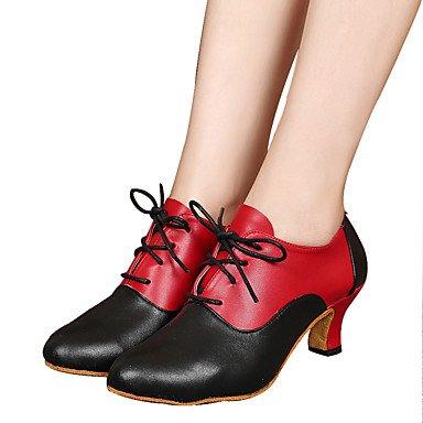 Silence @ Femme/Homme/enfants Chaussures de danse Samba Cuir Talon cubain Noir/rouge Red