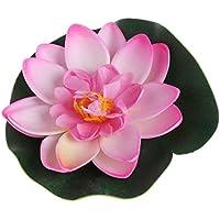 JAGENIE - Flores artificiales flotantes de loto, plantas de lirio para jardín, decoración de estanques