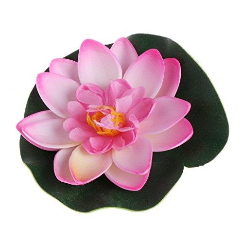 Jiamins Künstliche gefälschte schwimmende Blumen Lotus Seerose Pflanzen Garten Tank Teich Dekor (Hellrosa)