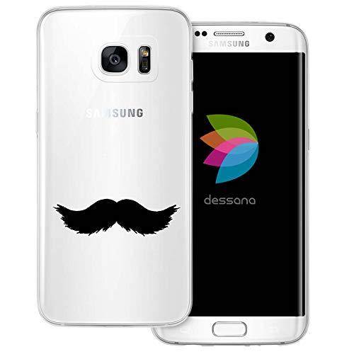 (dessana Mustache Transparente Schutzhülle Handy Case Cover Tasche für Samsung Galaxy S7 Edge Walross Bart)