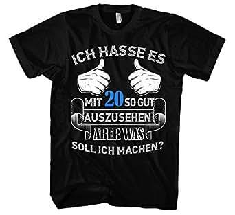 Ich Hasse es Geburtstag Männer Herren T-Shirt   Jubiläum Birthday Geschenk Geburtstagsshirt Lustig 20 30 40 50 60 70 80 (S, Schwarz Alter: 20)