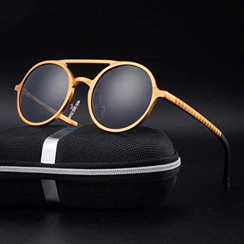HUILIN Markendesign Sonnenbrille Herren polarisierte Retro-Sonnenbrille mit rundem Gestell aus Aluminium-Magnesium-Legierung, Fahrspiegel, goldgrau