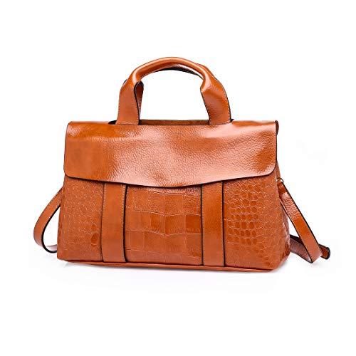 ITSCOSY Damen Handtaschen Hobo Schultertasche Damen Umhängetasche Messenger Tote Bag Large Double Zip, Braun (braun), Large -