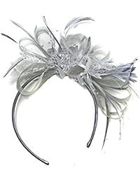 Tocado para boda, gris plateado, velo, con plumas, para bodas o carreras de Ascot