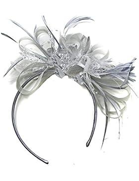Tocado para boda, gris plateado,