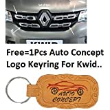 Premium Quality Tape Chrome OE Type Front Grill For Renault Kwid (4Pcs)+Auto Concept Logo Keyring For Renault Kwid
