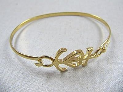 Bracelet jonc croix de camargue finition doré à l'or fin