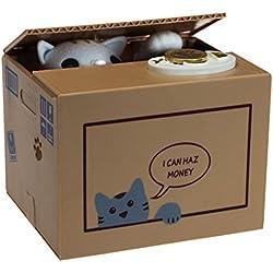getDigital 10973gato Hucha Gato en la caja regalo para Amantes del, plástico, Beige, 15x 12x 12cm