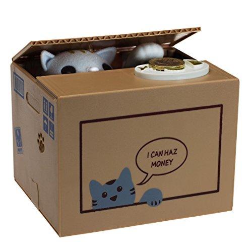 rdose Katze in der Box Geschenk für Katzenliebhaber, Plastik, beige, 15 x 12 x 12 cm ()