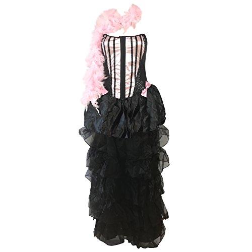 Burlesque Kostüm - Enthält Saloon-Mädchen-Kleid und passendem Hut - Burlesque-Abendkleid für Halloween, Hen Parties, Bühnenaufführungen - Made mit UK Größen 8-14 (Women: 34, Pink) ()