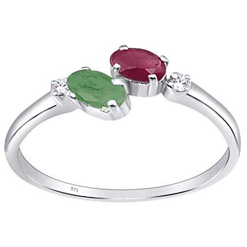 Orchid Jewellery Bague en argent sterling pour femme avec rubis, émeraude et zircone cubique 0,7 carat pour femme