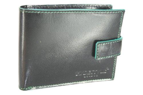 - Kalb-leder-münzen-geldbeutel (HYDESTYLE Classic Herren Geldbörse Leder mit farbigen Einfassung GW68 Grün Schwarz / Grün)