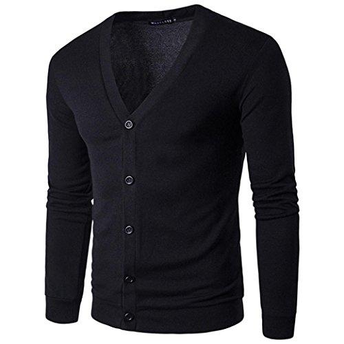 Suéter Hombre, Xinan Hombre Cárdigan Coat Jersey de punto de manga larga con cuello en V de otoño invierno Sudaderas con capucha para Hombre Suéter de Melange con Estampado (XL, Negro)