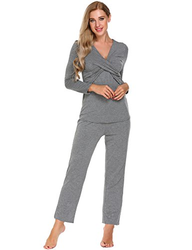 ADOME Damen Umstandspyjama Lang Stillfunktion Stillschlafanzug Stillpyjama Umstandsnachthemd für Schwangere Baumwolle Stil 2-Grau 2