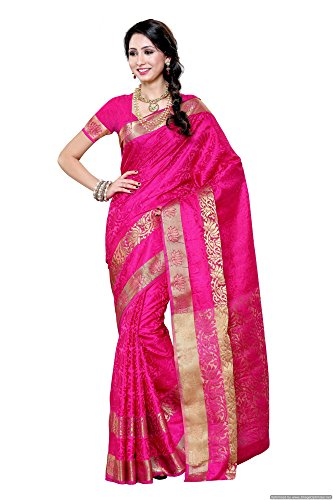 Mimosa Women's Artificial Silk Saree kanchipuram Uppada style, color :Rani(3276-2092-SD-RANI)  available at amazon for Rs.1299
