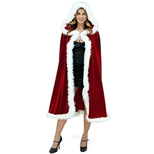 Cmylba Damen-Kostüm, Weihnachtsmannmotiv, Cappa-Umhang, Rot M rot (Santa Sweetie Kostüm)