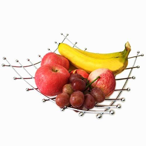 Huajian cesta de frutas de alambre cesta de almacenamiento electrochapa frutero de lavado de verduras para la cocina, la plata. (S)
