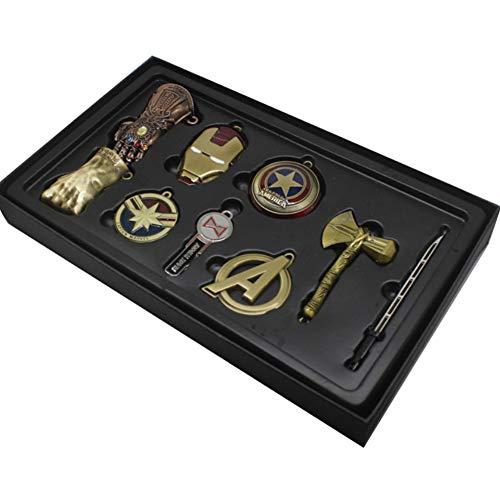Chiefstore Avengers Endgame Schlüsselanhänger Legierung Halskette Key Ring Anhänger 9pcs Film Cosplay Kostüm Zubehör für Erwachsene Kleidung Schmuck Kollection Box Set (Bronze) (Black Widow Und Captain America Kostüm)