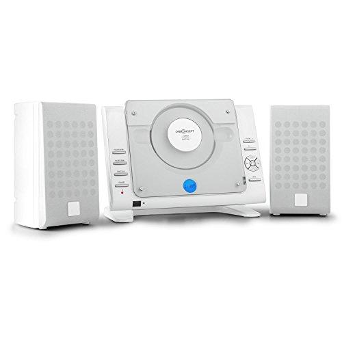oneConcept Vertical 70 - Stereoanlage, Kompaktanlage, Microanlage, Vertikalanlage, MP3-fähiger USB-Port, LCD-Display, MP3-fähiger CD-Player, AUX, UKW, MW-Radio, Fernbedienung, weiß