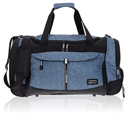 Sporttasche Damen Fitness Gym Alessandro Mate Tasche Reisetasche 55 cm, 45 L (724 Black Jaquard Grey)