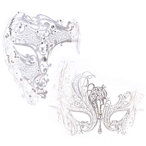 Coddsmz 2 Pack Set Paare Venezianische Maskeraden Half Face Masken Kostüme Party Zubehör (Silber)