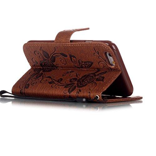 iPhone 6S Plus Hülle Case,iPhone 6 Plus Hülle Case,Gift_Source [Card Slot] [Kickstand Feature] Premium Luxury PU Leder Flower Butterfly Brieftasche Hülle Case Folio Flip Hülle Case Mit Strap für iPhon E01-03-Brown