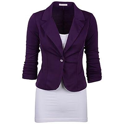 Womens Formal Work Wear Blazer Jacket Long Sleeve Turn Down Collar Button Wear Blazers Coats Casual