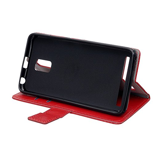 Lenovo A6600 Ledertasche, farbenfroh verrückte Pferd Textur horizontalen Flip Stand Case mit Wallet TPU Cover für Lenovo A6600 ( Color : Pink , Size : Lenovo A6600 ) Red