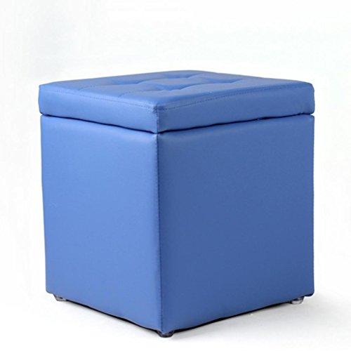 MNII personnalité Bois Massif Tabouret Chaussure de Chaussure Salle de Bains Cuir Balcon canapé Multifonction, 35 High Storage Stool Blue- Beau mobilier