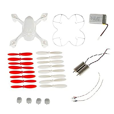 AFUNTA Hubsan X4 H107D Quadcopter Red/White Spare Parts Crash Pack (One Body Shell + One protective cover + 4 Rubber Feet + 4 x Spare Blades Set + One spare 380mA battery + 2 Motors + 2 Led light)