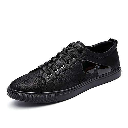 Klassischer Skateboard-schuh (HILOTU Beiläufige Bequeme Flache Skateboard-Schuhe Der Männer Microfiber-leichte Laufende Turnschuhe-runde Zehe-beständige Schuhe (Color : Schwarz, Größe : 42 EU))