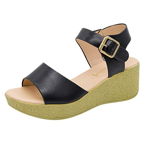 KonJin Women's Wedge Sandals Fashion Casual Buckle Strap Open Toe Wedge Thick Platforms Shoes Ankle Strap Comfy Buckle Breathable Shoes -