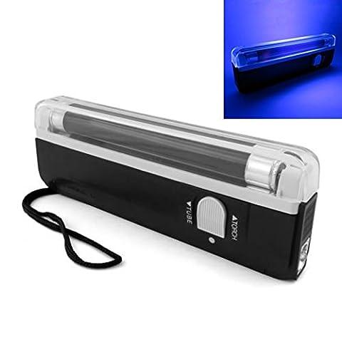 Origlam manuel portable UV lumière noire lampe torche, lumière noire UV lumière l'argent Bill détecteur de faux billets devises Cash Sécurité