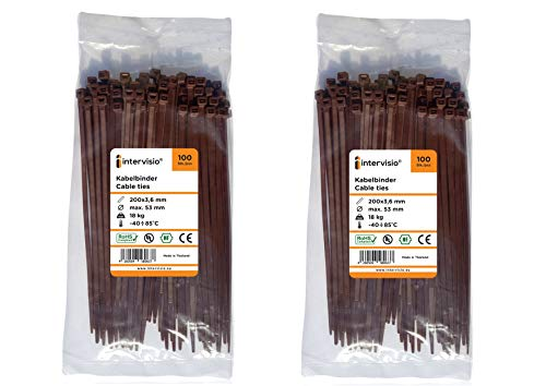 Intervisio fascette plastica per cablaggio 200 mm x 3,6 mm, fermacavo fascette colorate marrone elettricista 200mm nylon cavi velcro stringicavo, 200 pezzi