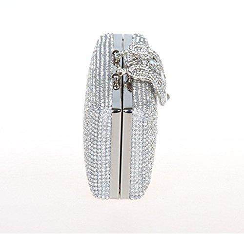 Sallyshiny donna con strass cristallo Evening Clutch Bag-Borsetta-Buste per matrimonio, festa a sera (argento)
