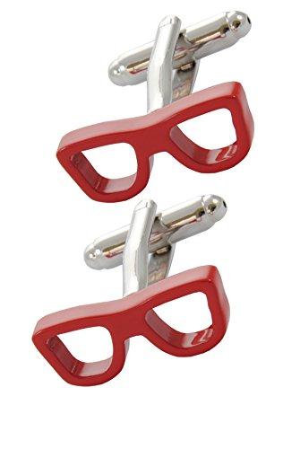 COLLAR AND CUFFS LONDON - Hochwertige Manschettenknöpfe mit Geschenk Box - Brille - Stilvolle Messing - Rot Farbe - Optiker Rahmen Vision