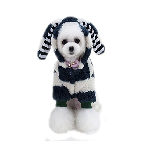 owikar Pet Dog Pullover PUPPY DOG COAT Big Ear Kaninchen Dick Koralle Samt mit Kapuze Kleidung Winter Overall Warm Hund Bekleidung für kalte Wetter für Chihuahua Pudel teddy (Baumwolle Rollkragen Petite)