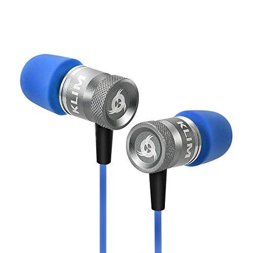 KLIM Fusion Auricolari per audio di alta qualità - Lunga durata + Garanzia 5 anni cuffiette - Innovativi: con cuscinetti in schiuma Memory [Nuova Versione 2017] Blu