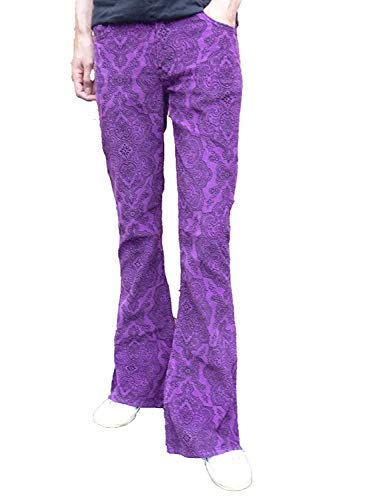 ausgestellt Schlaghosen Paisley Hosen lila Cord Hippie Mod Indie Jeans Retro Vintage Hose - Lila, 34W x 32L