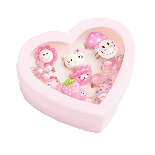 Hello Kitty Girls Ring set - 12 adjustable childrens rings ideal for party bags